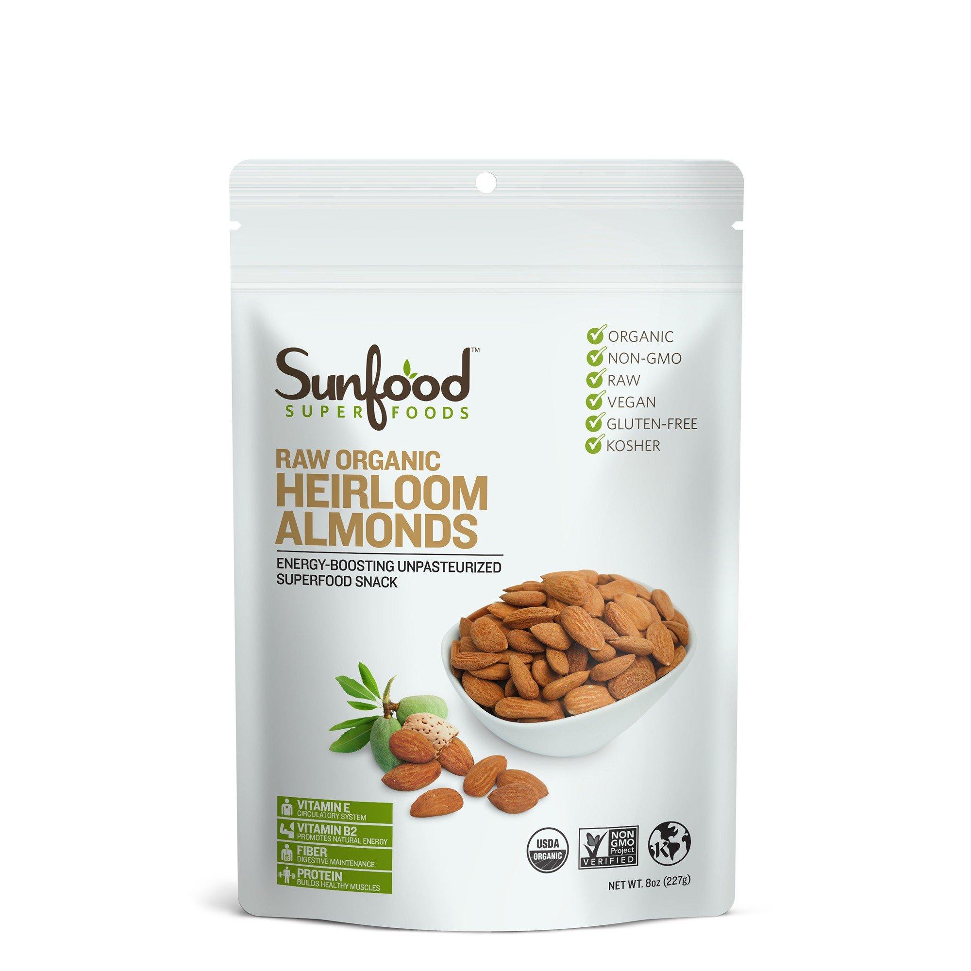 Sunfood Almonds, Shelled, 8oz, Organic