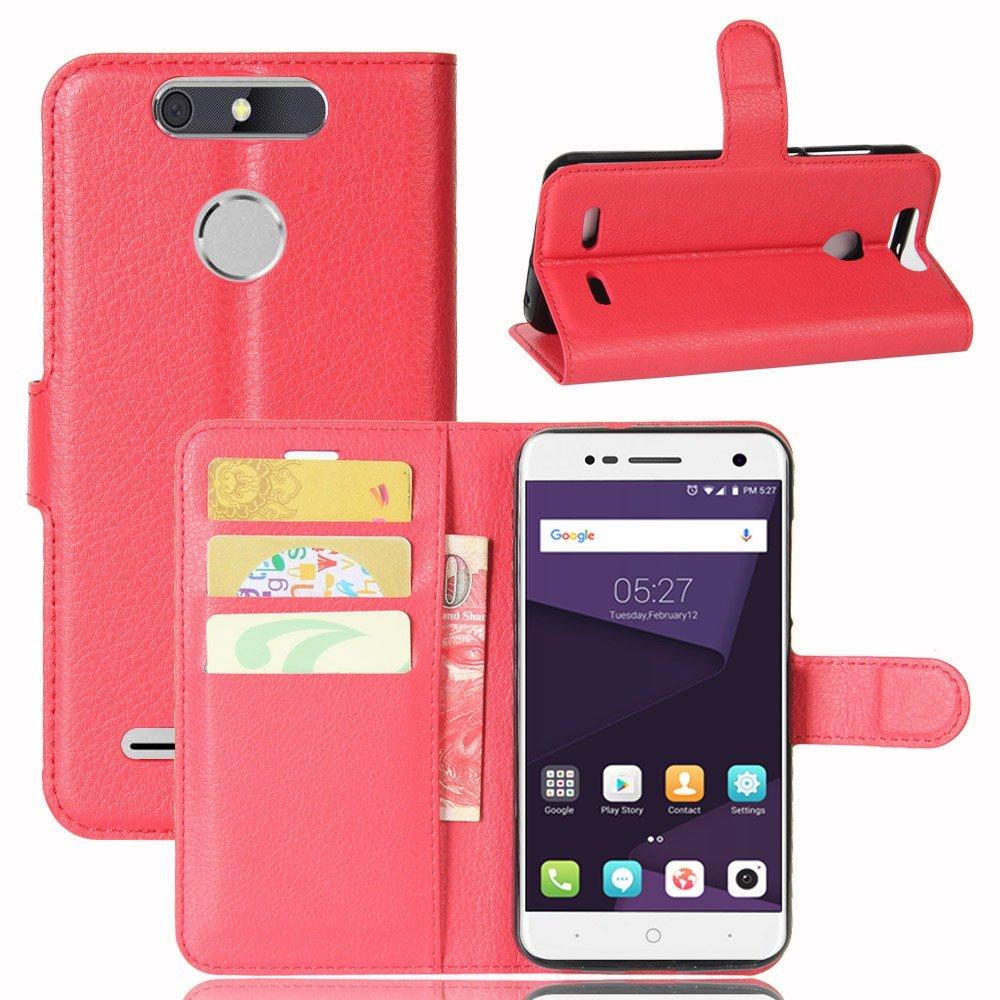 Guran® Funda de Cuero PU Para ZTE Blade V8 Lite Smartphone Función de Soporte con Ranura para Tarjetas Flip Case Cover Caso-rojo