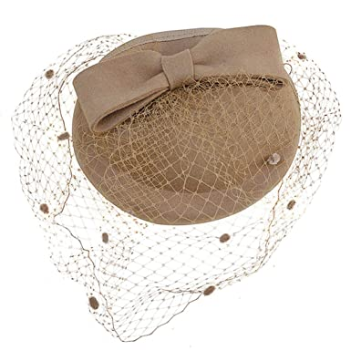 f5e8a9946 Women Fascinator Hats Vintage Wool Pillbox Hat with Bowknot Veil Dress Race  Church Wedding Hat Camel