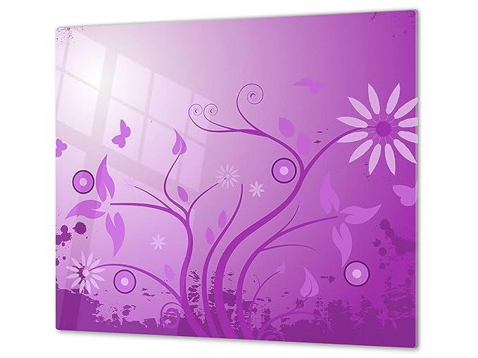 Poppys Flower Purple Glass Chopping Board Kitchen Worktop Saver