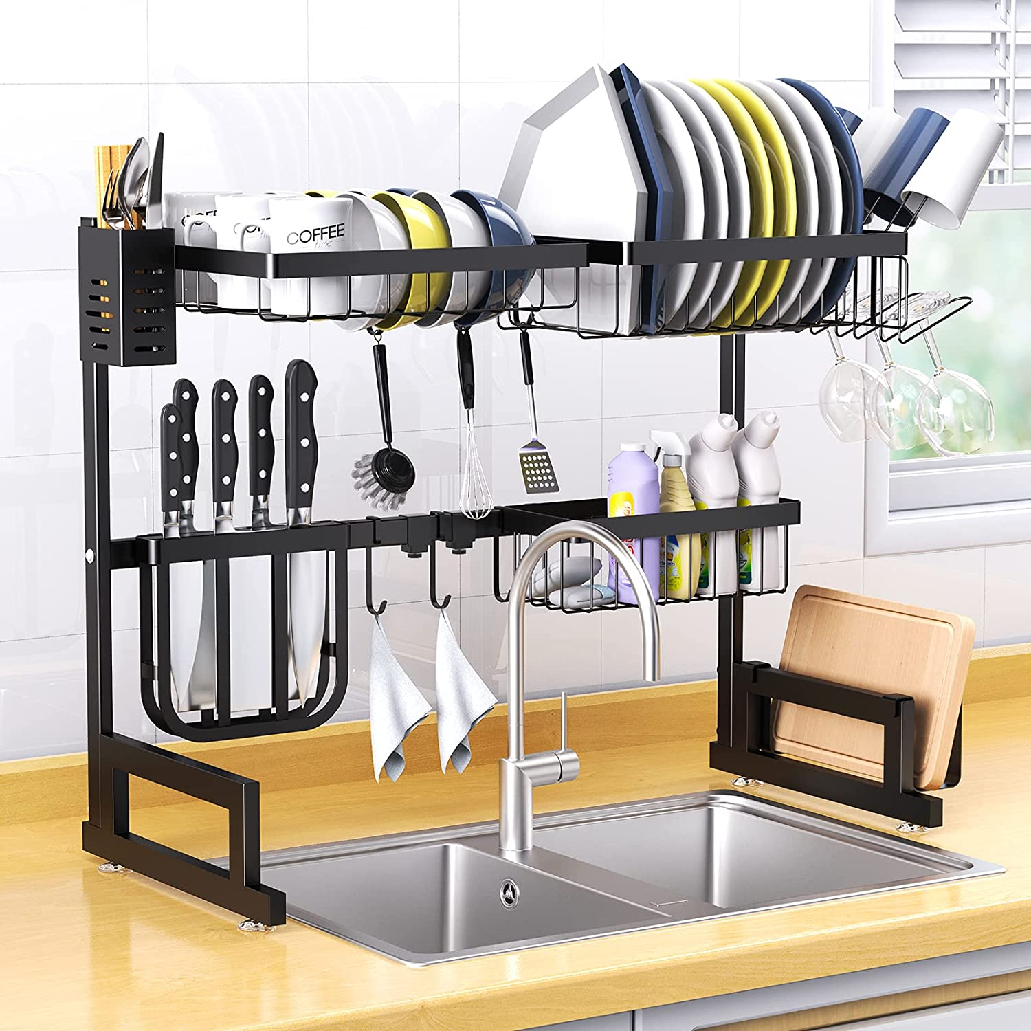 Dish Drying Rack Over Sink, Basstop Length Adjustable (25.6''=Sink Size=''33.5) Stainless Steel Above Sink Dish Rack Drainer Shelf with 2 Tier 6 Hook for Kitchen Counter Space Saving-Matte Black