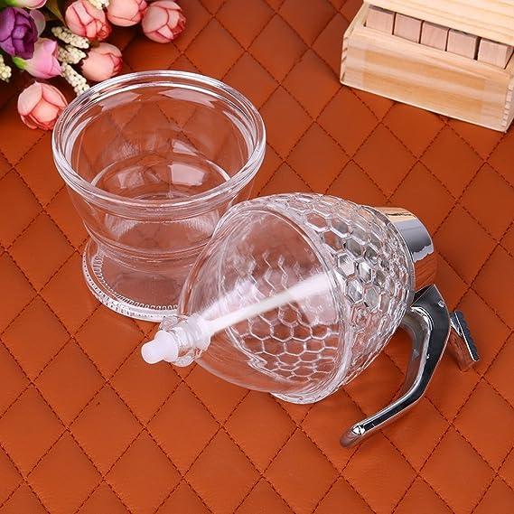 amazingdeal365 200 ml Miel Tarro recipiente dispensador de zumo Jarabe soporte de goteo de Abeja: Amazon.es: Hogar