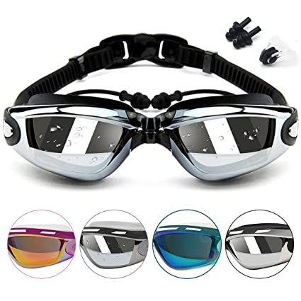 4d4e1824c7 Swimming Goggles - Swim Goggles Attached EarPlugs and Nose Clip No Leaking  Anti-Fog Waterproof