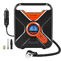 Kompressor Auto, Luftpumpe für Auto 12 Volt 150 PSI Reifen-Kompressor mit 7 großen LED Notfall-Lichter und digitalem LCD Bildschirm, 3 Adapter mitgeliefert, 3.6M Kabel