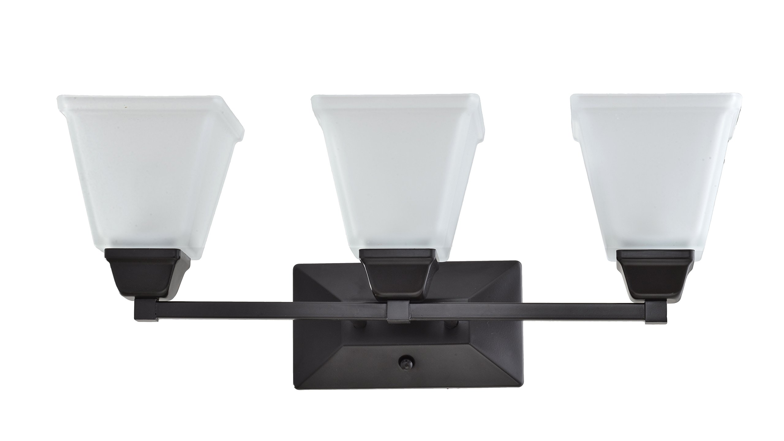 IN HOME 3-Light VANITY/BATHROOM FIXTURE VF37, Oil Rubbed Bronze Finish with Satin Etched Glass Shade, UL listed