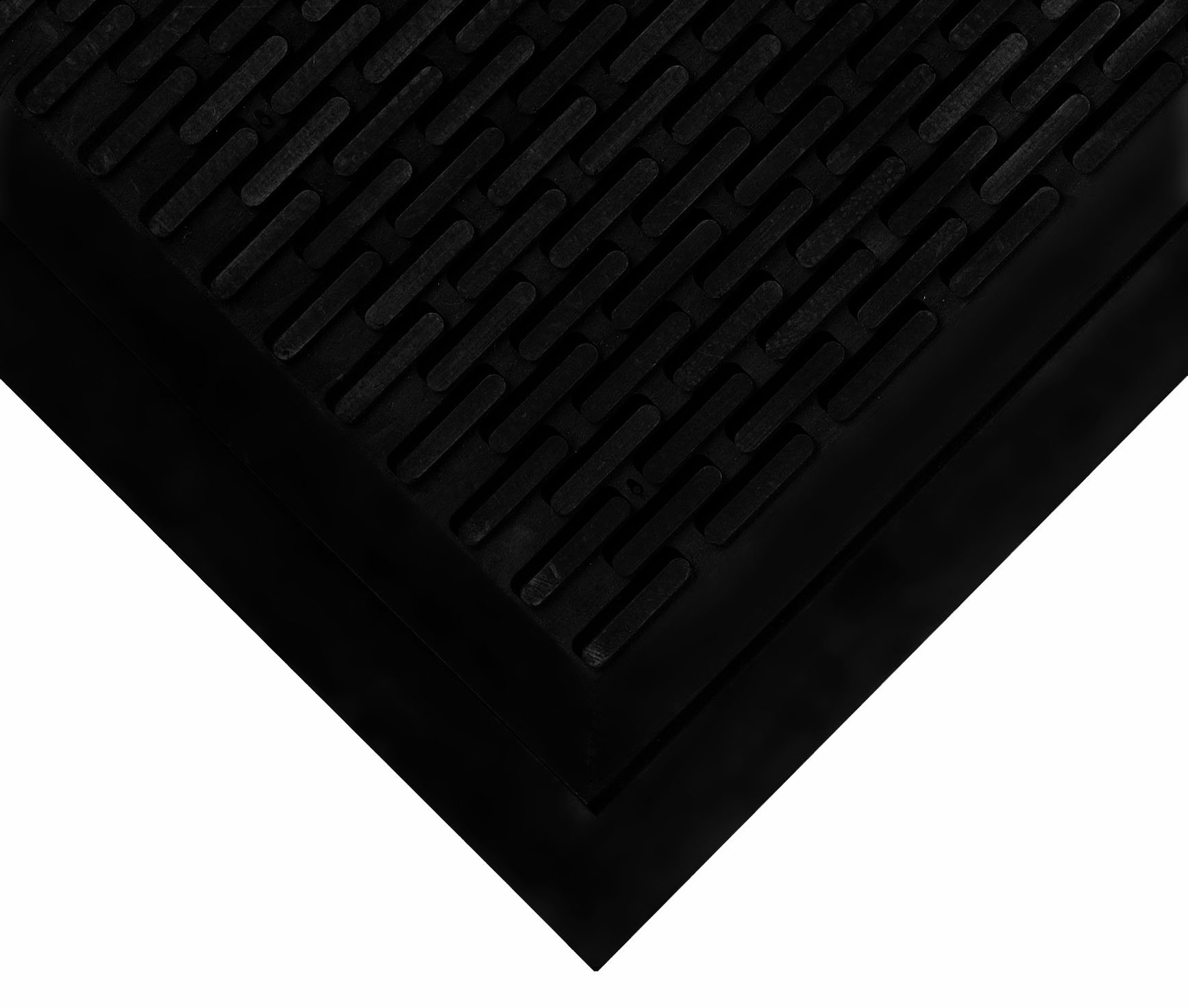 Wearwell Natural Rubber 224 UpFront Scraper Grease Resistant Mat, for Outdoor Entrances, 3' Width x 5' Length x 5/16'' Thickness, Black