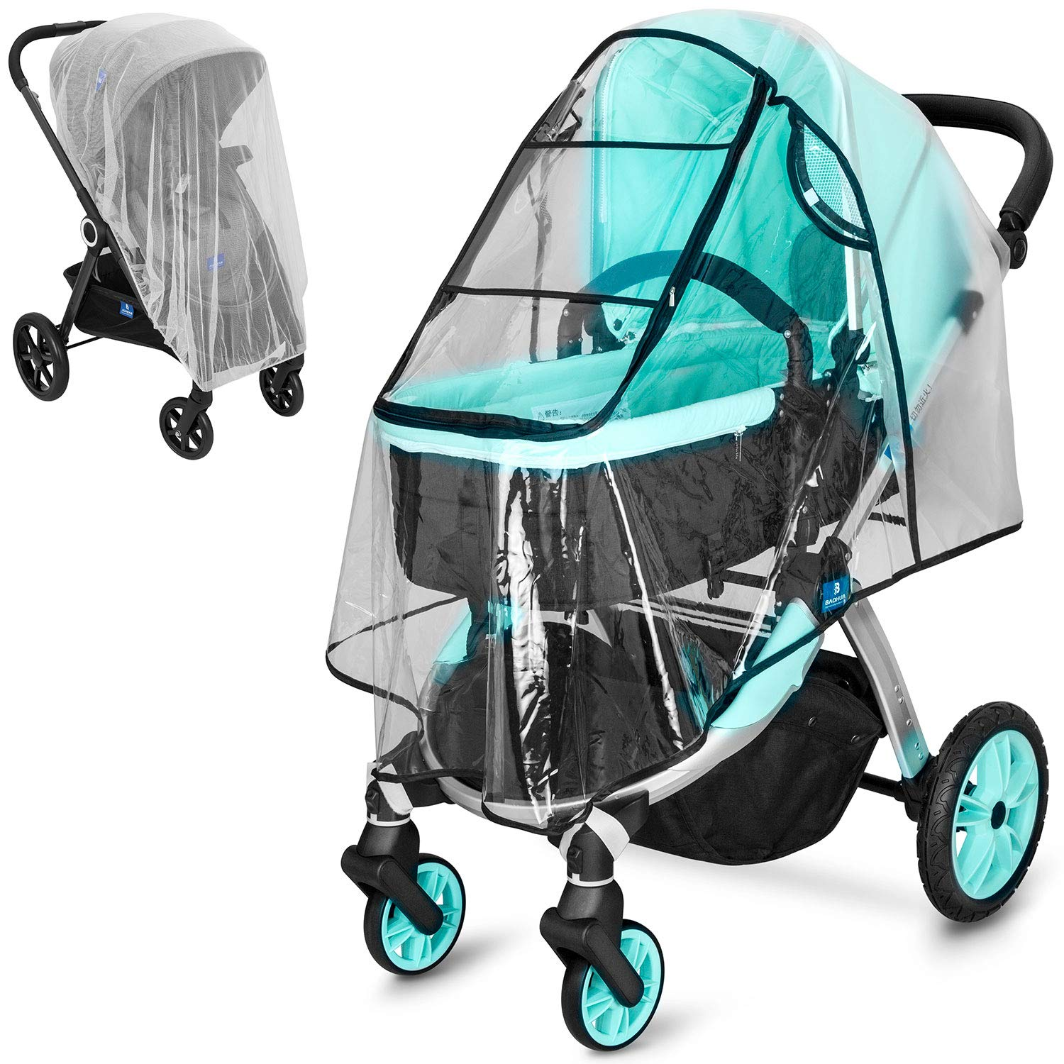 Stroller Rain Cover and Baby Stroller Mosquito Net(2-Piece Set),Baby Travel Weather Shield, Universal, Windproof Waterproof, Protect from Dust Insects