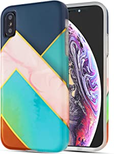 Apple iPhone Xs iPhone X Phone Cases - Geometric Marble Design Soft TPU Covers - Silicone Shockproof Bumper Protective Screen and Camera - Green