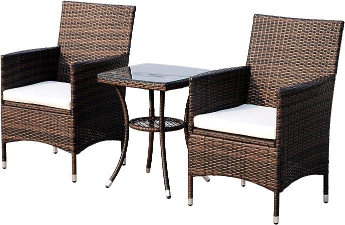 Outsunny Conjunto de 1 Mesa y 2 sillas para Terraza y Jardín Muebles de Exterior de Ratán de Color marrón: Amazon.es: Hogar
