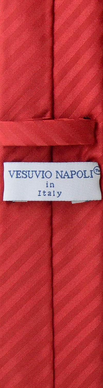 Vesuvio Napoli Skinny NeckTie Red Vertical Stripes 2.5 Neck Tie /& Handkerchief