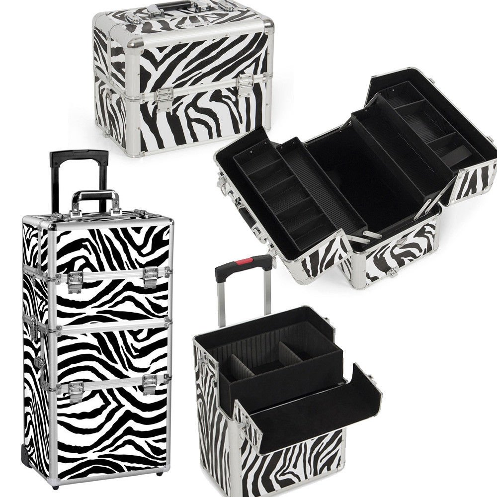 Rolling Makeup Beauty Case Cosmetic Organizer Trolley Aluminum