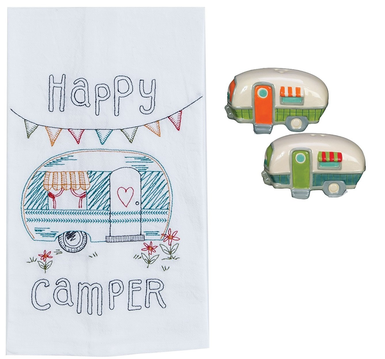 DHE Happy Camper 3 Piece Kitchen Bundle, Towel with Salt and Pepper Shakers