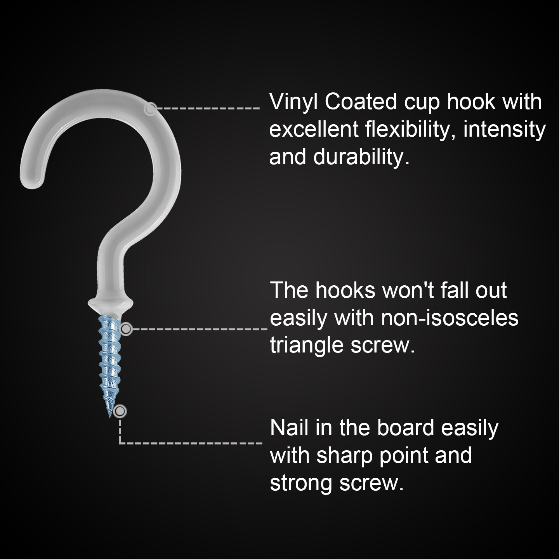 Amazoncom Kuuqa Pieces Vinyl Coated Ceiling Screw Hooks Cup - Vinyl coated cup hooks