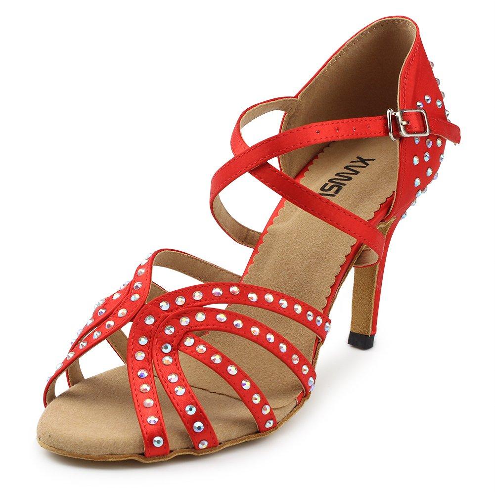 [MSMAX] レディース DS-022 B07D9DNTT1 8.5cm Heel Red Women US Size 7.5