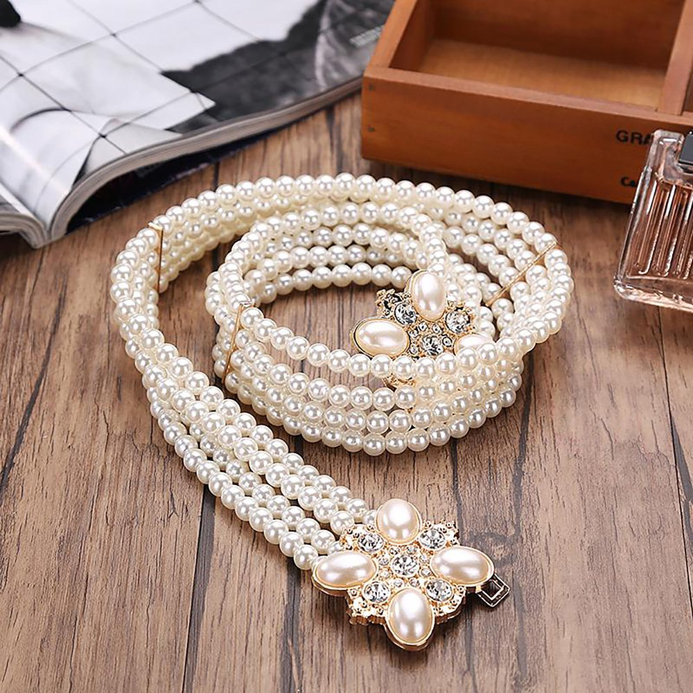 Ya Jin Elegant White Pearls Rhinestones Elastic Belt Chain Belt Interlocking Buckle for Women Dress by Ya Jin (Image #5)