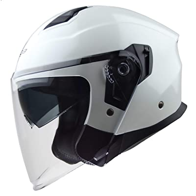 Vega Helmets Magna Open Face Motorcycle Helmet with Sunshield Unisex-Adult powersports (Pearl White, LG): Automotive