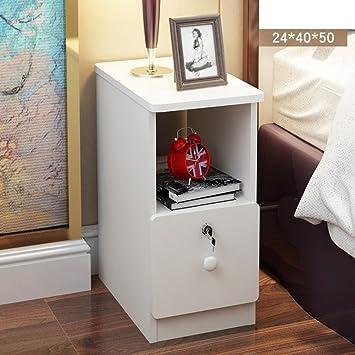EWYGFRFVQAS Mini Nachttisch Schlafzimmer Ultra Schmal Einfaches Kabinett  Des Bettes Kleines Schließfach Mit Schloss Montage