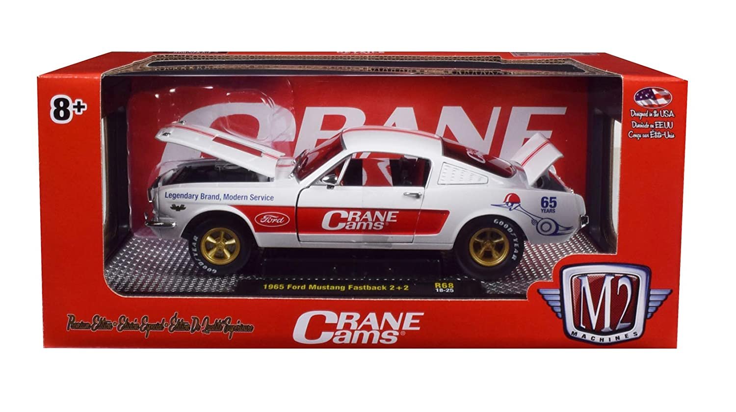 Amazon com 1965 ford mustang fastback 2 2crane cams white with red stripes limited edition to 5880 pieces worldwide 1 24 diecast model car by m2 machines
