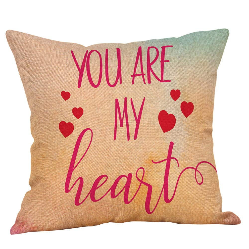 Happy Valentine's Day Sikye Comfort Cotton Linen Cushion Cover, I  You Letter Print Pillow Case Protector for Living Room Party Decor (A)