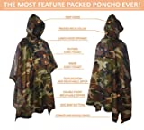 Rain Poncho with Breathable Zippers and Chest