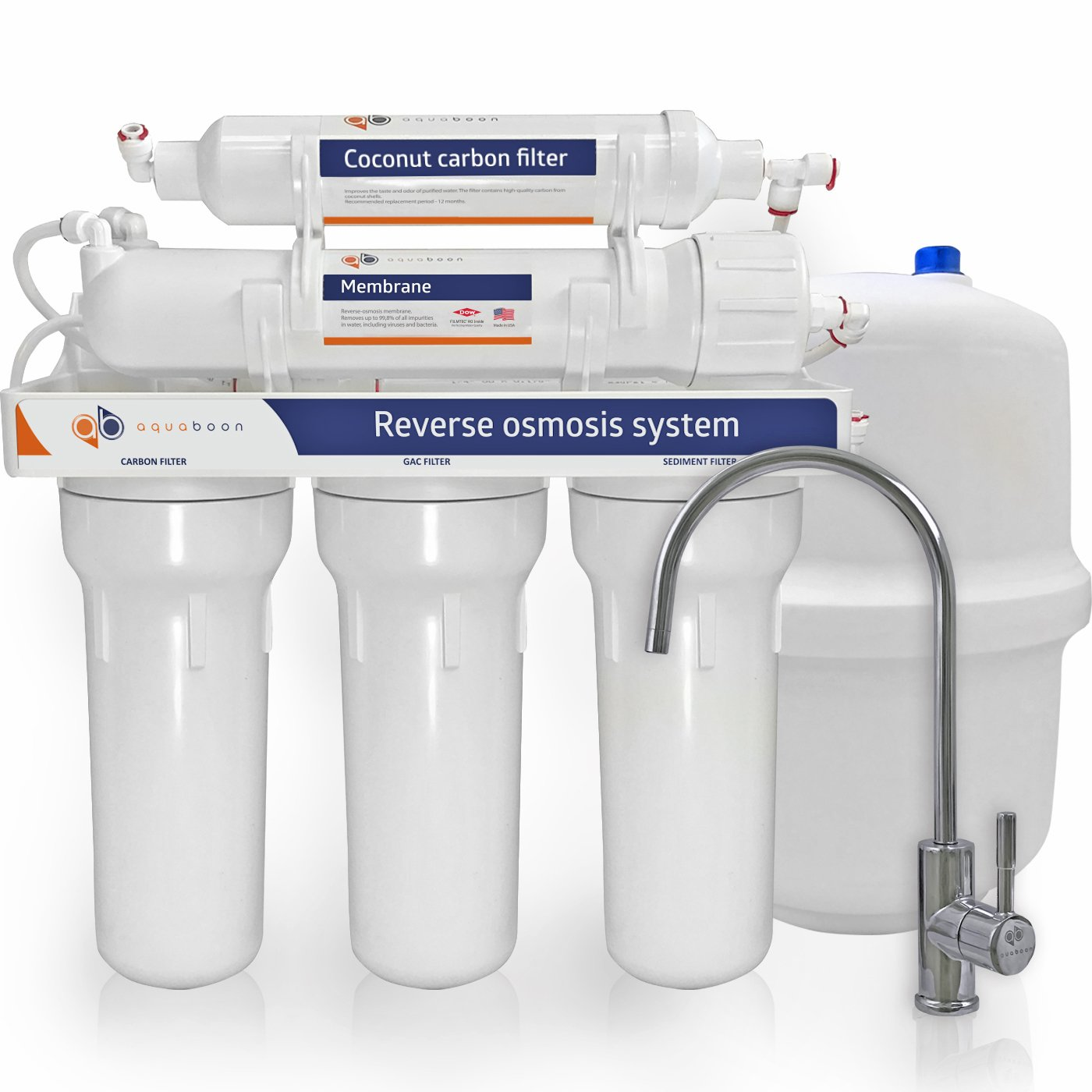 Aquaboon 100 Gallons Per Day 5 Stage Home Drinking Reverse Osmosis Filtration System