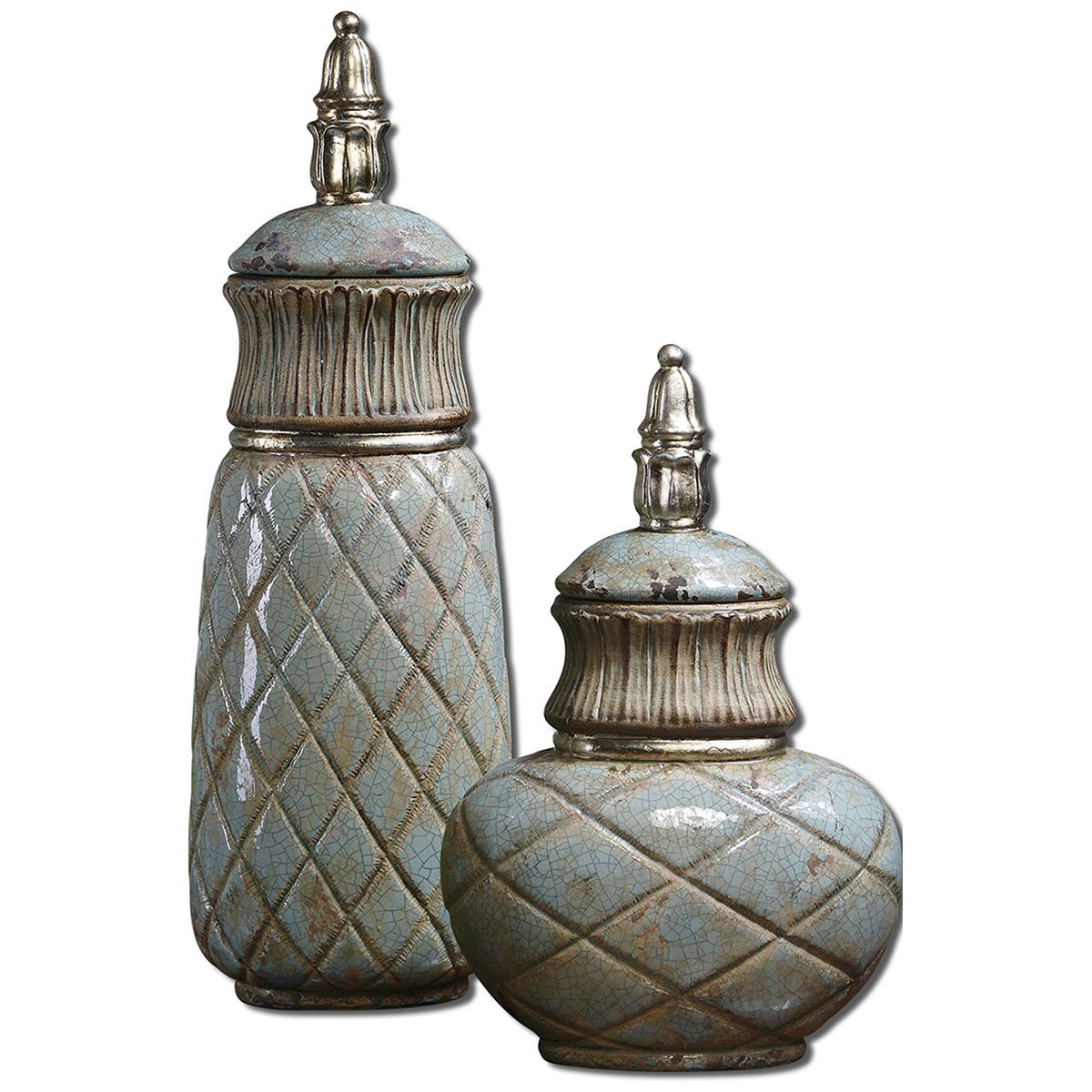 Uttermost Deniz Containers 6 x 7.5 x 24'' (Set of 2), Sea Foam Green by Uttermost