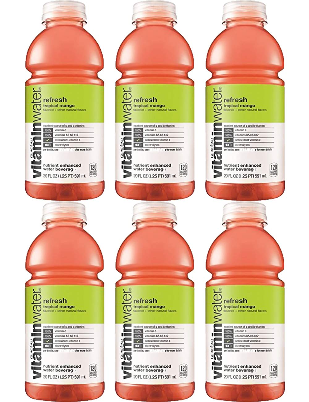 Vitamin Water Refresh Tropical Mango 20 Oz Bottle (Pack of 6, Total of 120 Oz