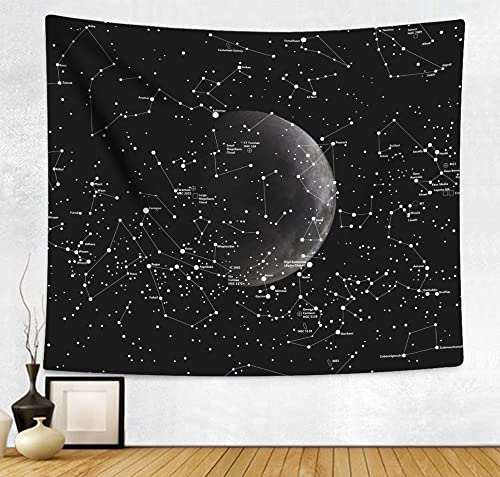 Sumplee Modern Stylish Tapestry Wall Hanging Decor Blanket Bedspread for Home Room Dorm 60 H x 80 W, Moon Constellation