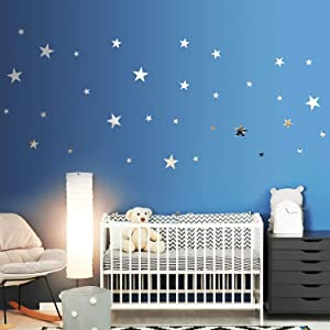 32 Pieces Removable Star Mirror Stickers Acrylic Mirror Setting Wall Sticker Decal for Home Living Room Bedroom Decor (Silver)