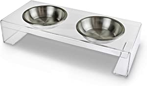 KOOLDOG Elevated Dog Food Bowl-(incl. 2 Stainless Steel Bowls), 20 in x 9 in x 4 in High, Clear Plastic Stand, Modern Raised Feeding Station for Small to Medium Dog, Cat and Puppy for Food and Water