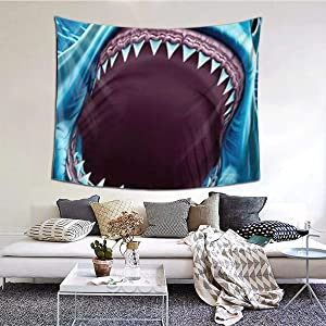NiYoung Bohemian Wall Hanging Hippie Hippy Tapestry,Great White Shark Teeth Blue 3D Print Indian Room Decor Bedding Tapestry, Mysterious Tapestry - 60 x 51 inches, Beach Towels