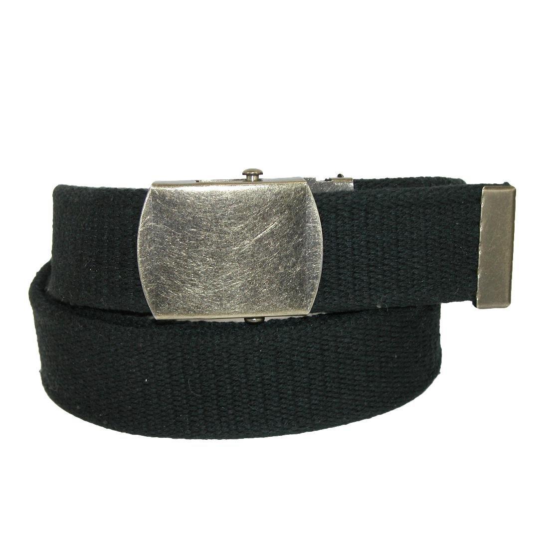 CTM Cotton Web 1.5 Inch Adjustable Military Buckle Belt, Black