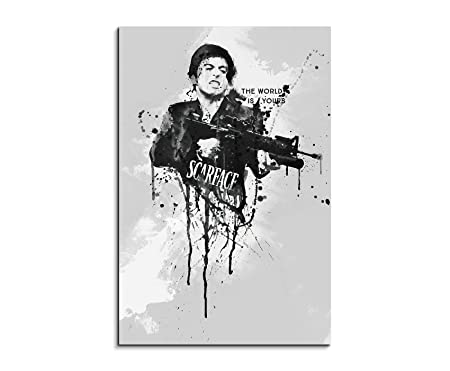 Al Pacino Scarface 90X 60 cm STRETCHER Frame Art Painting Watercolor ...