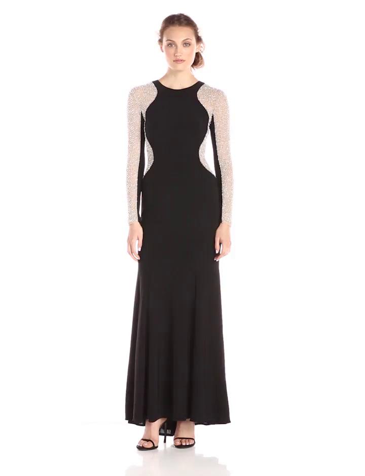 Amazon.com: Xscape Women\'s Long Ity with Caviar Bead Long Sleeve ...