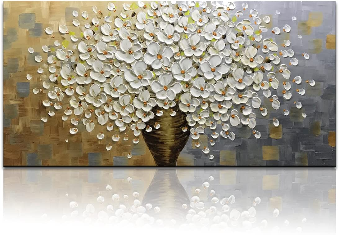 Desihum – Long Wall Art 3D Floral Oil Painting White Flowers Wall Art On Canvas Handing Painting Picture Square Artwork Ready to Hang 20x40inch