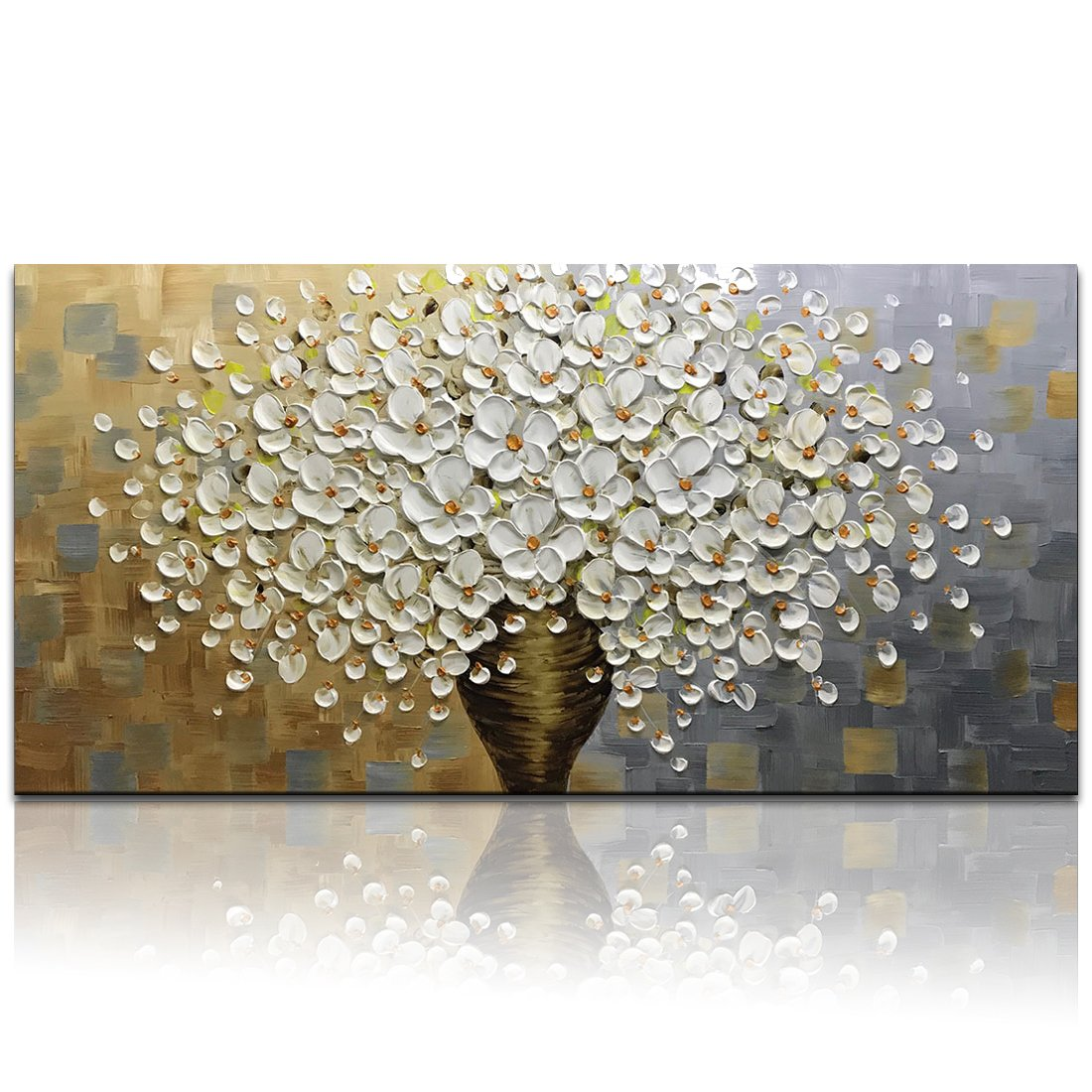 Desihum - Hand Painted Oil Painting On Canvas Texture Palette Knife White Flowers Picture Modern Home Decor Wall Art Large Suqare 3D Flowers Artwork(24x48inch)