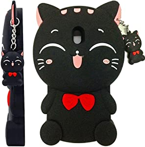 Maoerdo Cute 3D Cartoon Fortune Cat Black Silicone Rubber Phone Case Cover for Samsung Galaxy J3 2018 / J3 Achieve/Amp Prime 3 / J3 Eclipse 2 / J3 Prime 2 / J3 Emerge 2018 / J3 Star / J3 Orbit