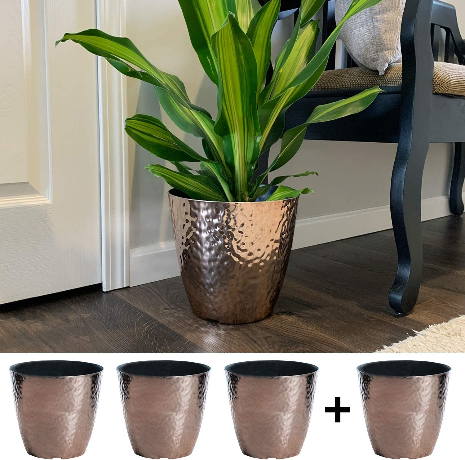 4-Pack 10-in. Round Metallic Hammered Plastic Flower Pot Garden Potted Planter for Indoors or Outdoors, Copper