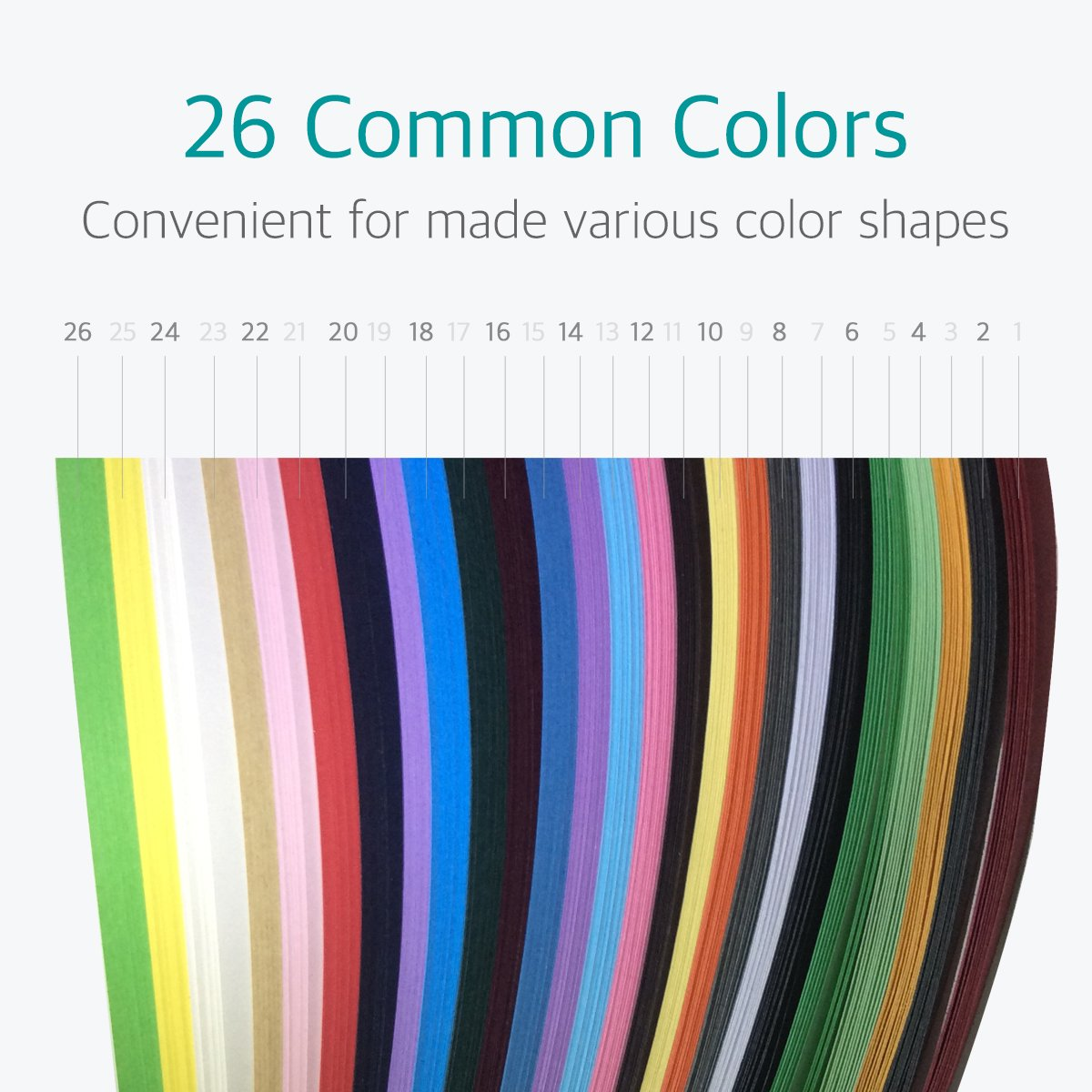 15 inch, 26 Colors, 8 Sets Lantee Quilling Paper Quilling Art 2080 Strips Set 3mm 5mm 7mm 10mm