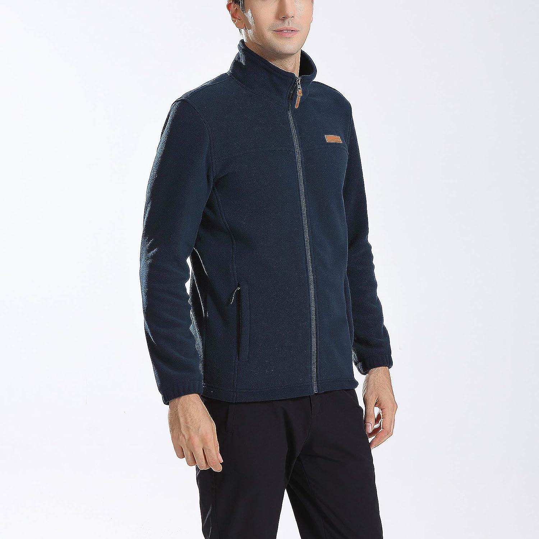 Kolongvangie Mens Classic Active Full-Zip Coat Soft and Lightweight Fleece Casual Outdoor Jackets