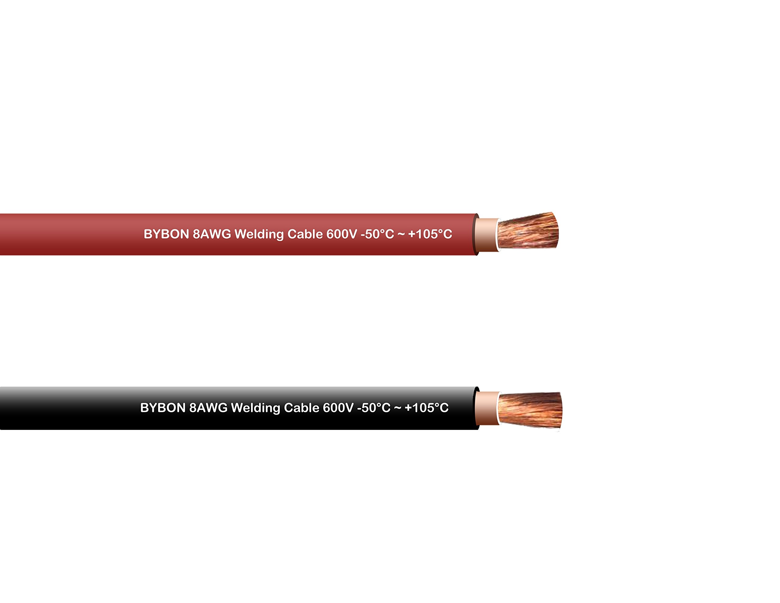Bybon 8 AWG Welding Cable 600V COMBO PACK Black + Red (20 FT Each)