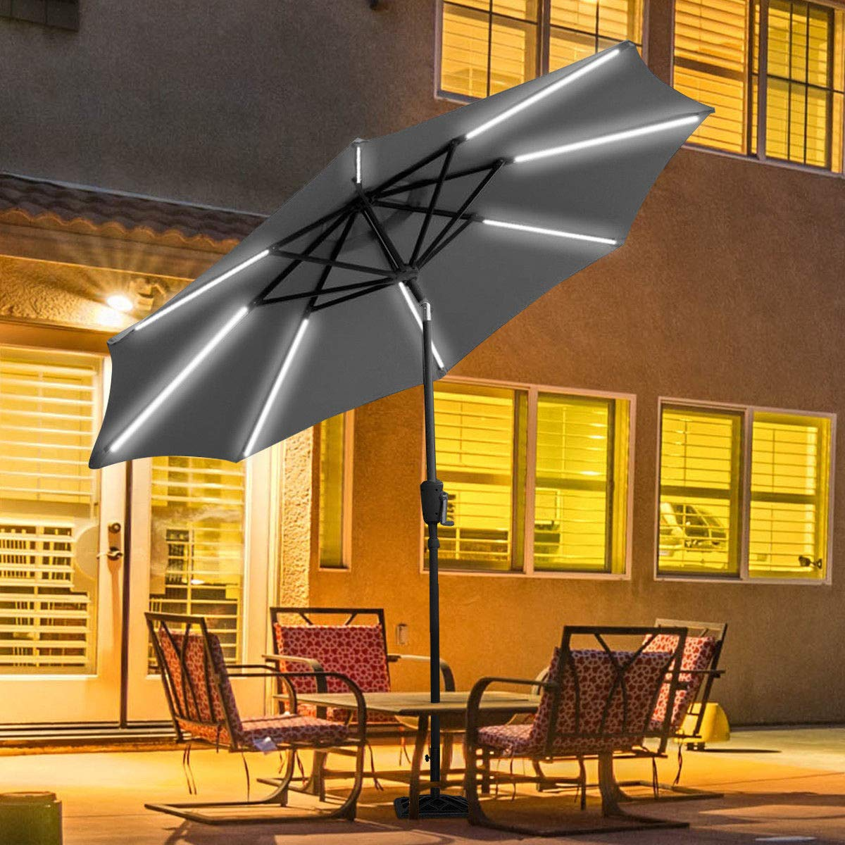 TANGKULA 9ft Patio Umbrella Outdoor Tilt Umbrella Lawn Garden Balcony Sunshade Tent Rain Shelter Patio Furniture Solar Led Light(Grey)