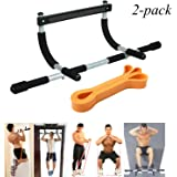 EXEFIT Door Gym Bar With Resistance Bands Total Upper Body Workout and Resistance Bands Workouts