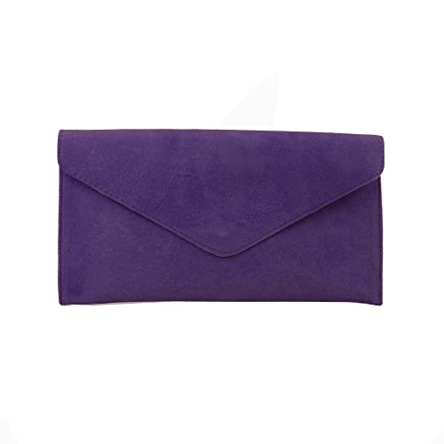 Ladies Purple Suede Envelope Evening Clutch Bag