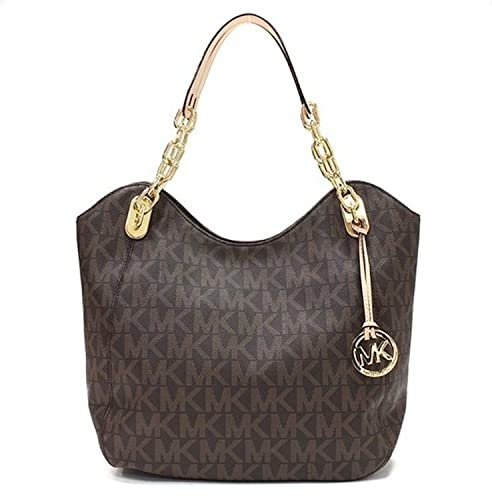 ad0bd7b3beb2 ... cheap michael kors large brown signature coated canvas lilly tote  handbag 0f8f8 fc916