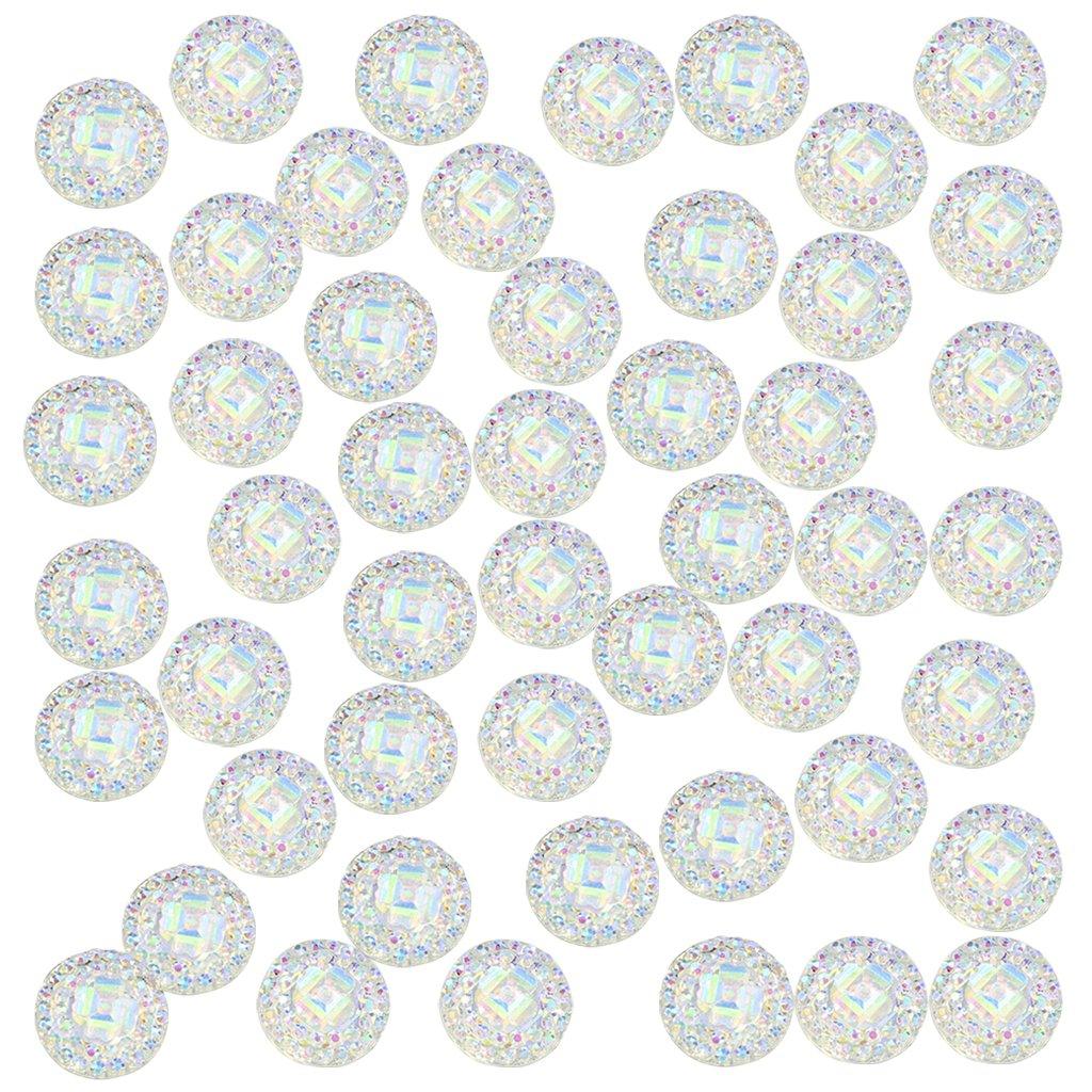 perfk 50 Pz Abbellimento Flatback Bottoni Cabochon Artigianati Fai Da Te Decorativo Album Resina Bianco 12mm