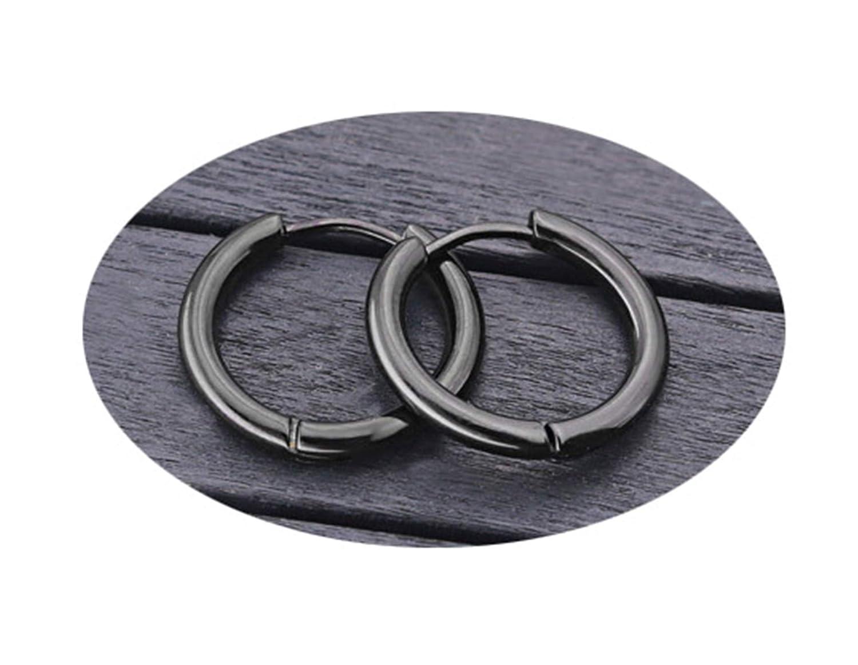 Beydodo Surgical Stainless Steel Earrings Hoops for Men Piercing Earrings Jewelry Multicolor Endless Hoop Earrings
