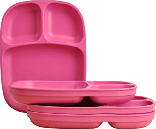 product image for Re-Play Made in USA 4pk Bright Pink Large Sandwich Divided Plates with Deep Sides and Three Compartments Great for Outdoor, Camping, Party, Tailgating or Everyday Dining