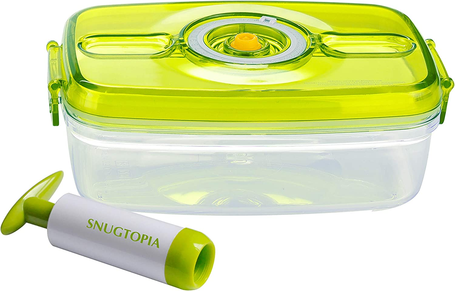 SNUGTOPIA Food Storage Container with Vacuum Sealed Airtight Lid BPA Free, 1 Glass-like Tritan Container with Manual Pump, Microwave, Freezer, Dishwasher Safe, Stain Proof, 33.81 oz