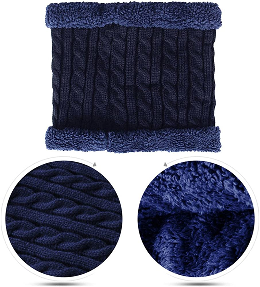 Knit Neck Warmer Winter Infinity Scarf Soft Thick Circle Loop Scarves Fleece Plush Lined Neckerchief for Men Women